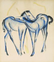 Kunst Tapete aus dem Expressionismus - Franz Marc, Zwei blaue Pferde
