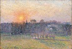 Camille Pissarro, Sonnenuntergang über Baumlandschaft. 1892