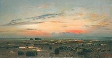 Kunst Tapete aus dem Realismus - Isaak Iljitsch Lewitan, Marschlandschaft am Abend
