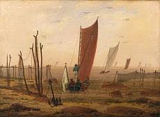 Kunst Tapete aus der Romantik - Caspar David Friedrich, Der Morgen (Ausfahrende Boote)