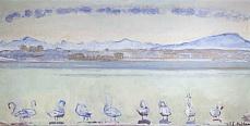 Kunst Tapete aus dem Jugendstil - Ferdinand Hodler, Der Hafen von Genf vom Quai du Mont Blanc aus, mit neun Schwänen im Vordergrund