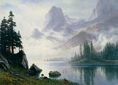Kunst Tapete aus der Romantik - Albert Bierstadt, Berg im Nebel