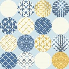 Kreise mit japanischen Mustern auf blauen Hintergrund