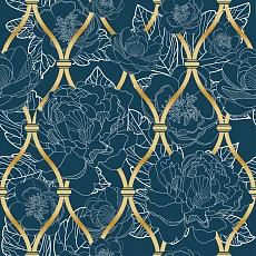 florales Pattern mit goldener Gitterstruktur