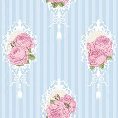 Rosen Medallion Pattern auf gestreiften Hintergrund