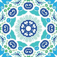 indisches Muster in blaugrün