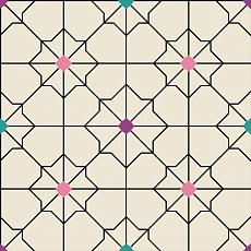 modernes Ornamentmuster mit bunten Punkten