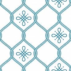 blaues Rautenmuster aus Seilen