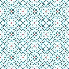 Stickereimuster in blau