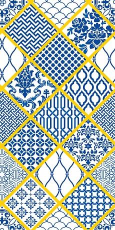 gelb umrandete Rauten mit blauen Mustern