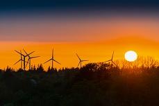Windräder bei Abendsonne in Bredstedt in Nordfriesland