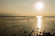 Sonnenuntergangsstimmung am Holmer Siel auf Nordstrand
