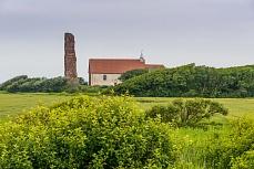 Blick auf die alte Kirche der Insel Pellworm