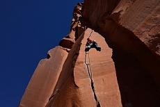 Kletterer am Indian creek in Utah