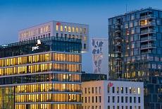Oslo Stadt Opernhaus, Blick auf die Skyline