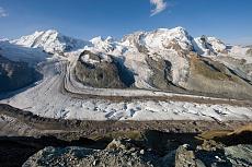 Blick vom Gornergrat auf den Gornergletscher