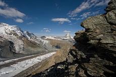 Blick vom Gornergrat auf den Gornergletscher und Matterhorn