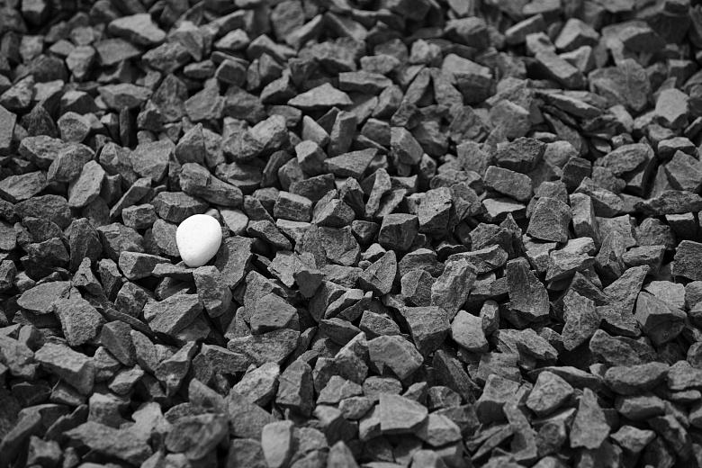 Ein weißer Stein