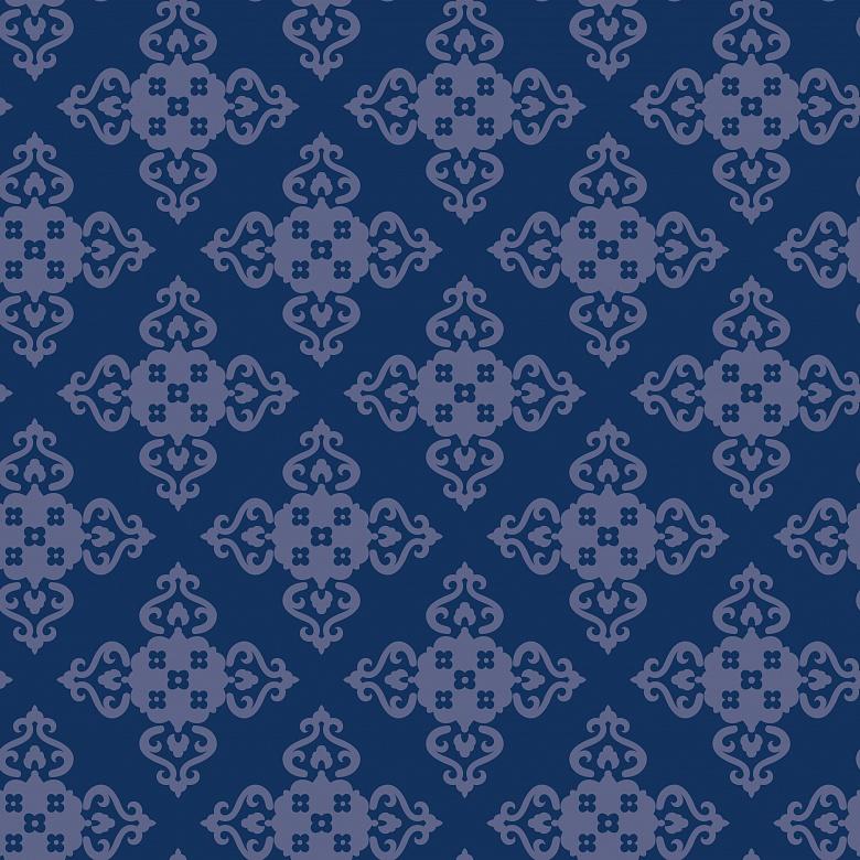 Mustertapete ornamentstruktur in dunklem blau tapeterie for Mustertapete blau
