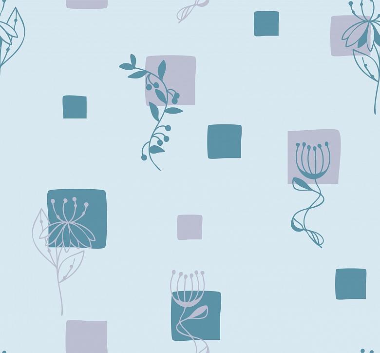 Mustertapete zwischenr ume mit quadraten in blau tapeterie for Mustertapete blau