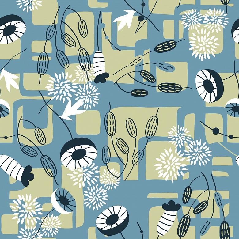 Mustertapete pflanzengeometrie in blau mit beige tapeterie for Mustertapete blau