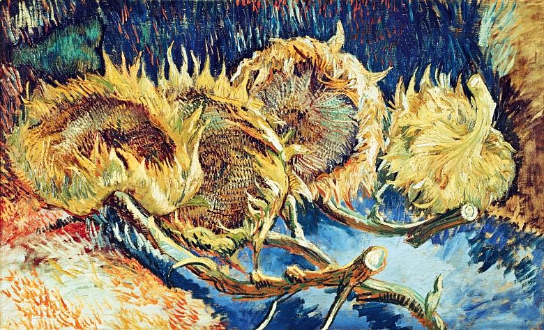 Vier abgeschnittene Sonnenblumen. 1887