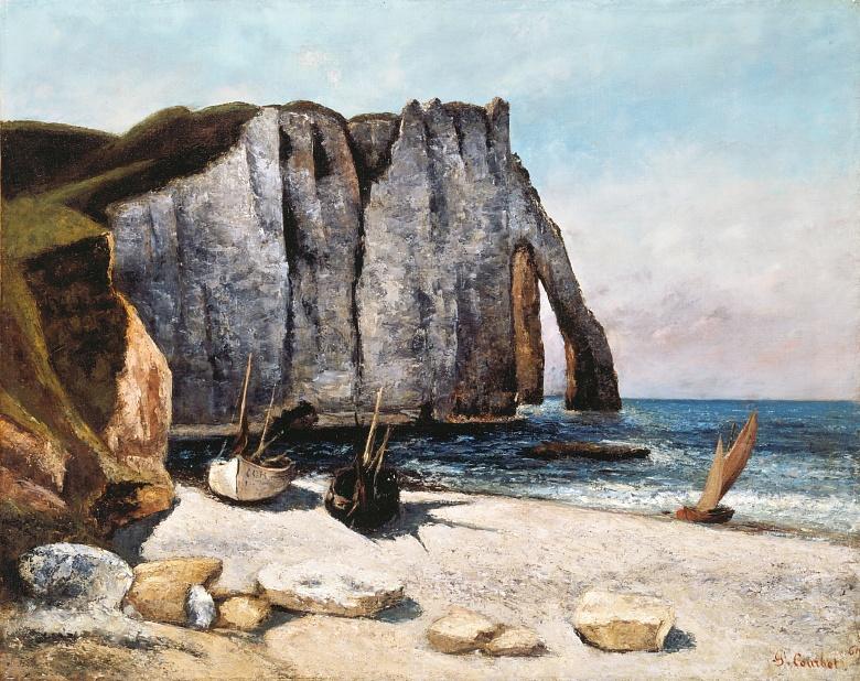 Falaise von Etretat und Boote am Strand. 1869