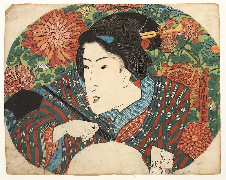 Utagawa Kunisada, Porträt einer Dame mit geschlossenem Fächer vor Chrysanthemen. Um 1825
