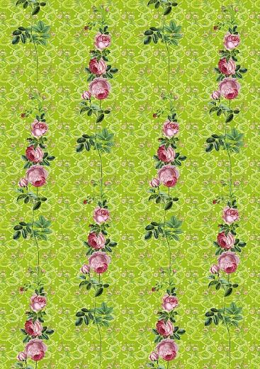 designer tapete rosenranken in rosa gr n tapeterie. Black Bedroom Furniture Sets. Home Design Ideas