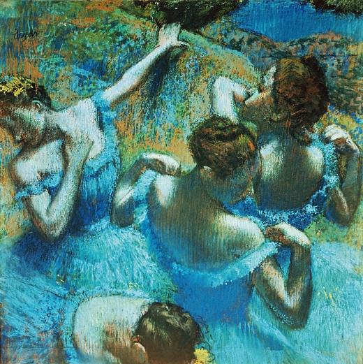 Tänzerinnen in blauen Kostümen. Um 1898