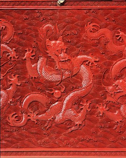 Tragbare Truhe mit Drachenmotiv für Tee-Zeremonie (Detail). 18. Jahrhundert