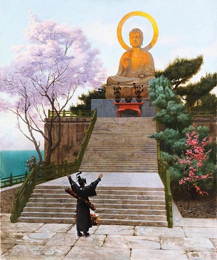 Japaner, eine Göttlichkeit anflehend