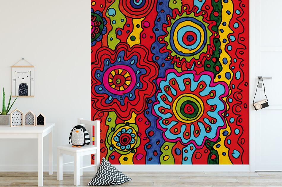 Designer Tapete - Blumen Mandalas - Katja Hammermüller