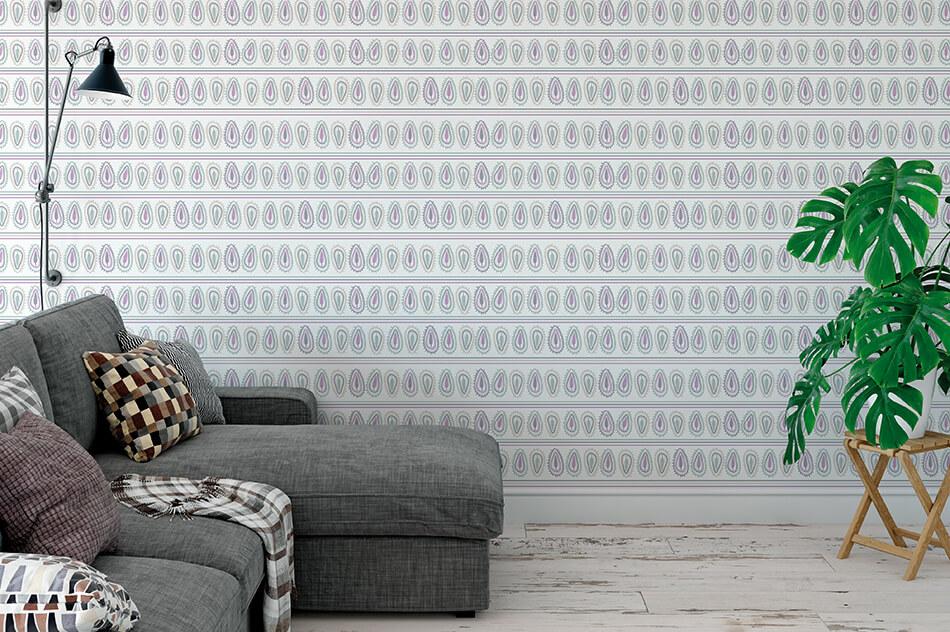 Designer Tapete - Muster abstrakte Blätter in grün mit violett - Lolia Lova