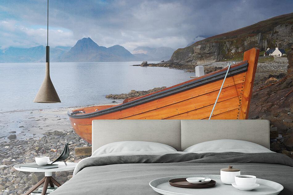 Fototapete - Ruderboot an der Küste Schottlands - Christian Camenzind