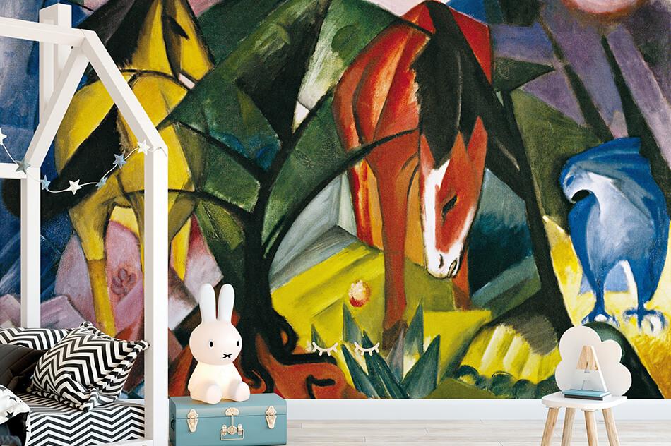 Kunst Tapete aus dem Expressionismus - Franz Marc, Pferde und Adler - Artothek