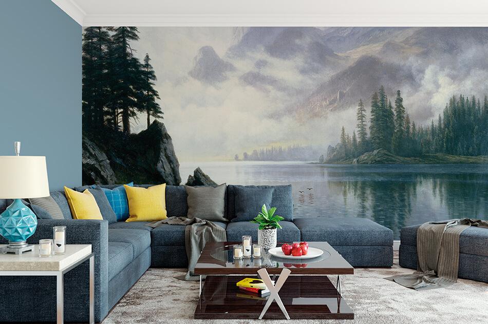 Kunst Tapete aus der Romantik - Albert Bierstadt, Berg im Nebel - Artothek
