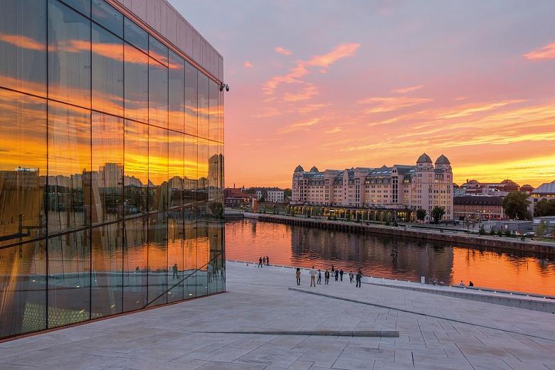 Oslo Stadt Opernhaus, Blick auf die Stadt