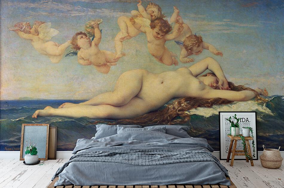 Kunsttapeten Akt- Kunst Tapete mit einem Werk von Alexandre Cabanel - Die Geburt der Venus- Artothek