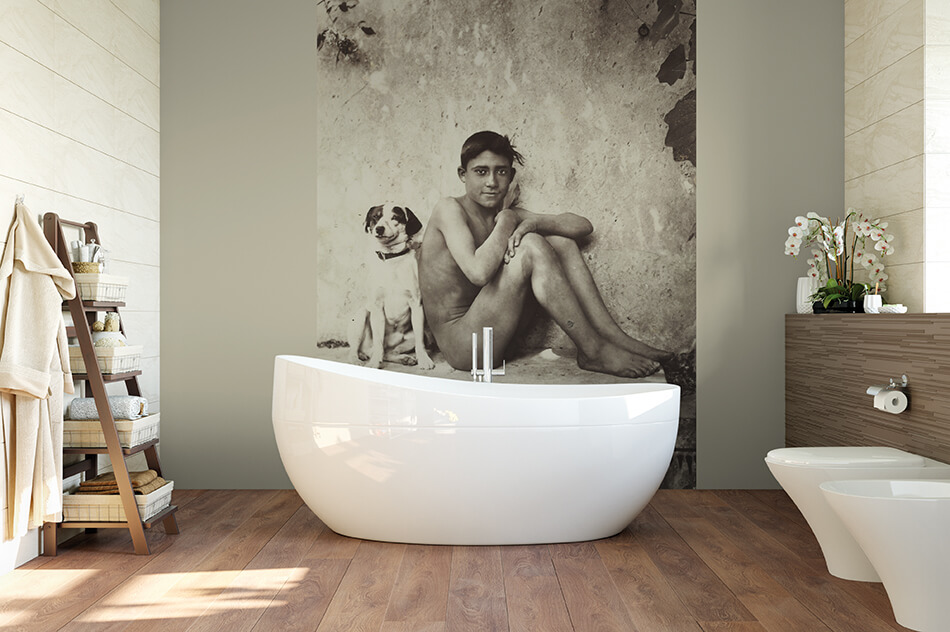 Kunsttapeten Fotografie - Junge mit seinem Hund, Taormina, Italien - Artothek
