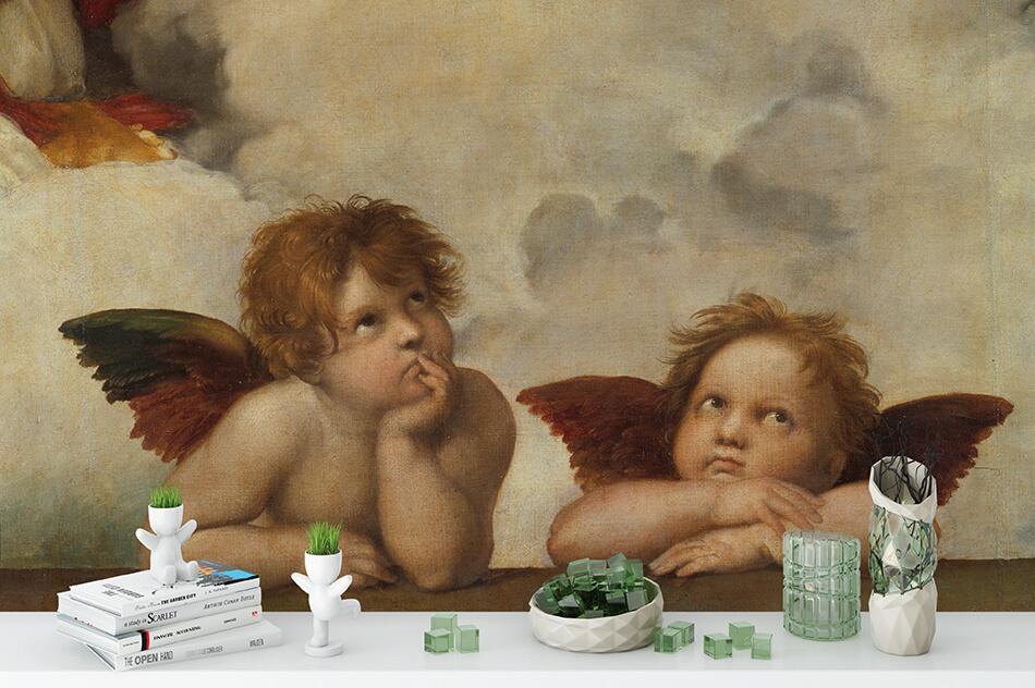 Kunsttapete - Zwei Engel Sixtinische Madonna - Artothek