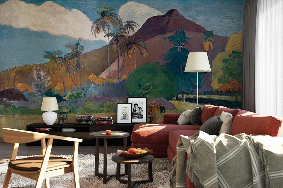 Kunst Tapete aus dem Impressionismus - Paul Gauguin, Tahitianische Landschaft mit Gebirge - Artothek