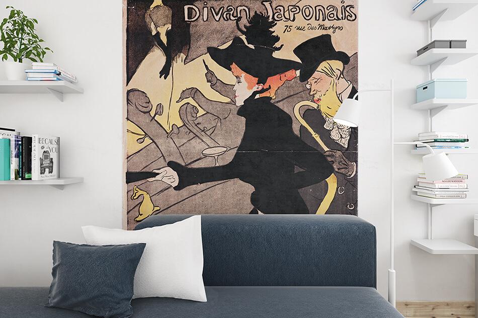 Kunst Tapete Plakat aus dem Jugendstil - Henri de Toulouse-Lautrec, Plakat Divan Japonais, 75 Rue des Martyres - Artothek